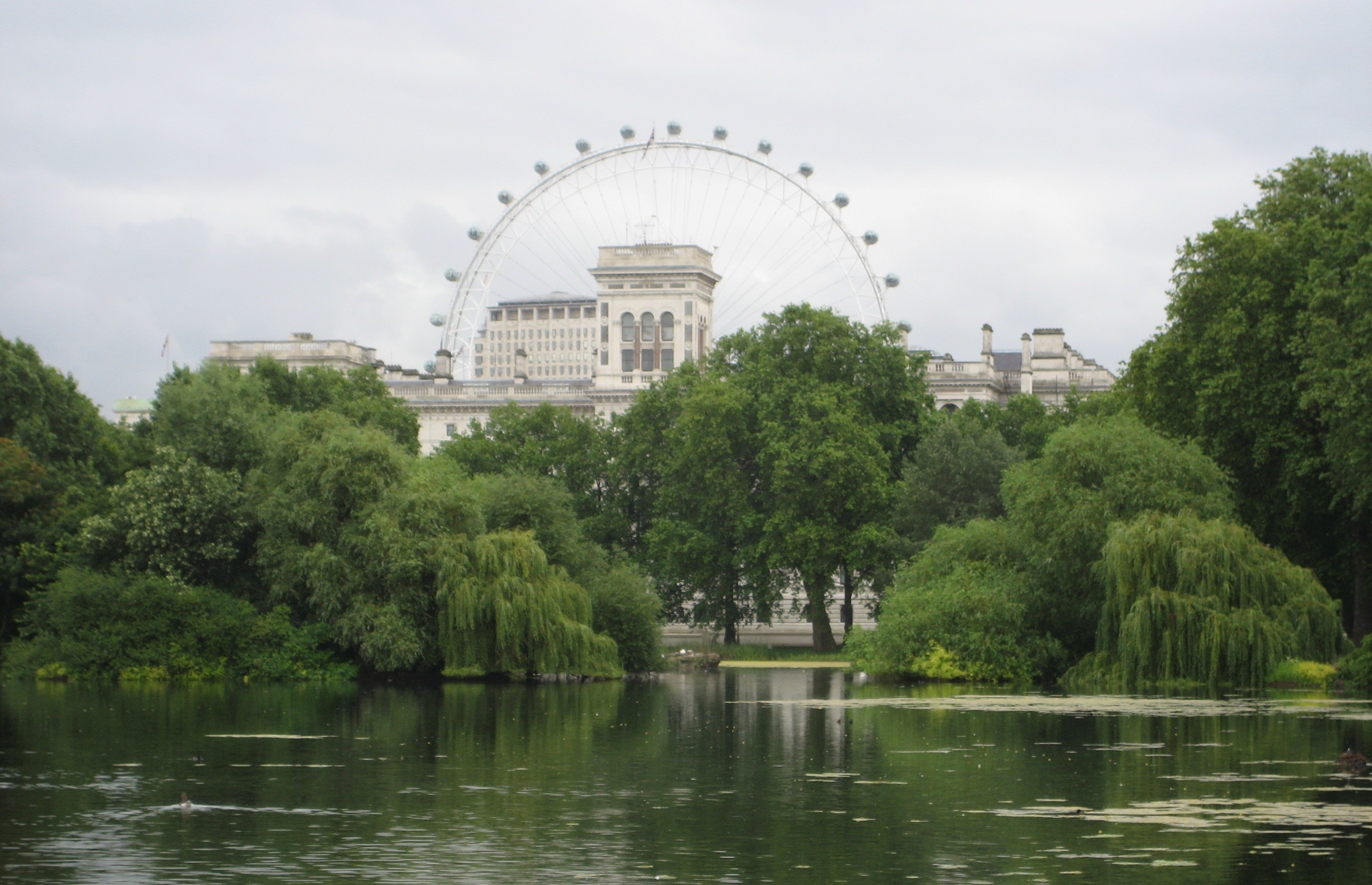 London Eye tucked behind one of the city's many parks.