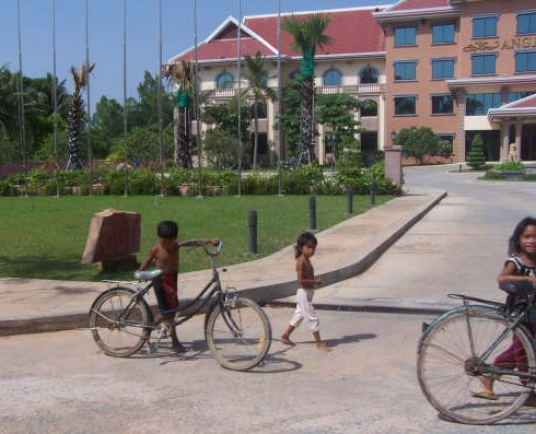 Children outside resort in Siem Reap